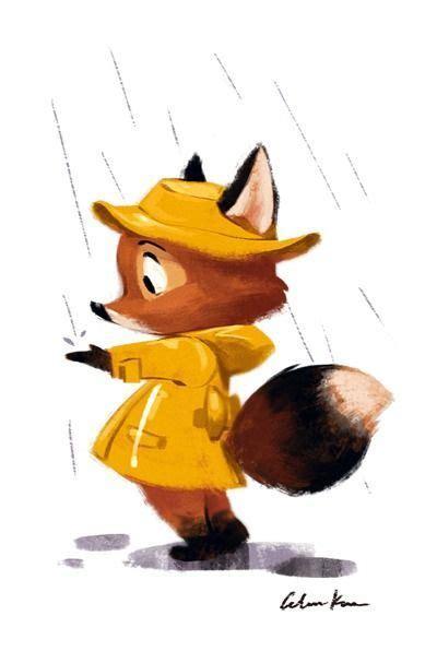 art  celine kim illustration fox  yellow raincoat