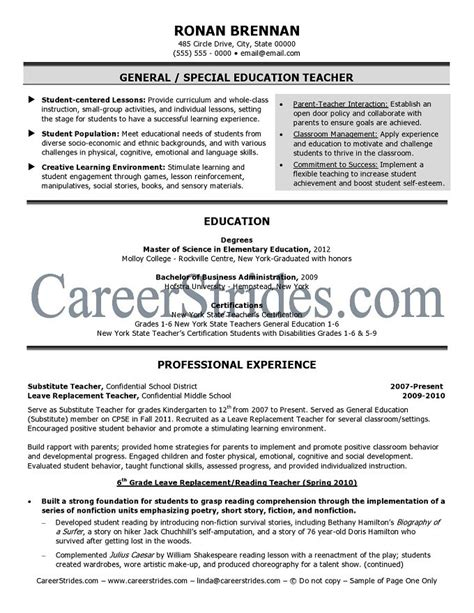Elementary School Resume Objective by Elementary School Resume Sle Exle