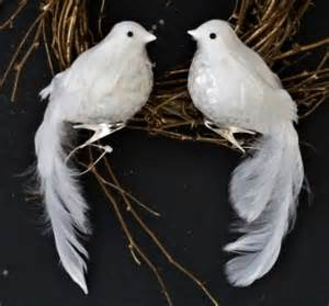 2 sequined breast winter white wedding doves feather christmas tree ornaments ebay