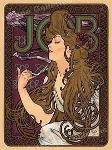 1890s Job Rolling Paper Classic Art Print Alphonse Mucha ...