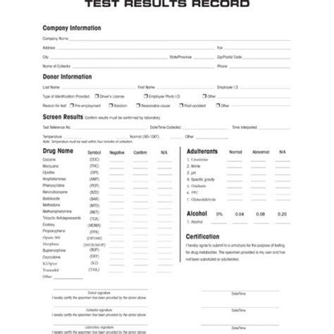 drug test results form onsite test forms pack of 25 carbon copy