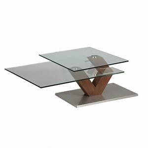 Table Bois Et Verre : table basse en verre et bois et plateau pivotant 1265 ~ Teatrodelosmanantiales.com Idées de Décoration