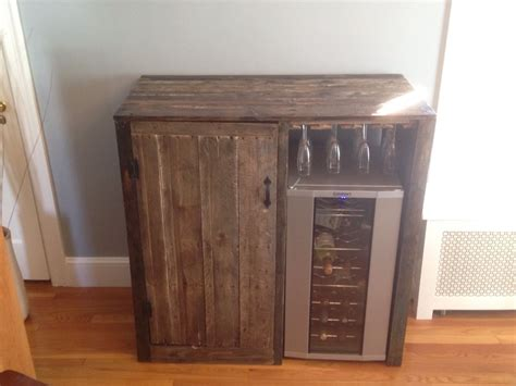 bar cabinet with wine fridge my first pallet project rustic liquor cabinet with built