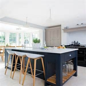 island stools for kitchen modern kitchen with painted shaker units kitchen design 4845
