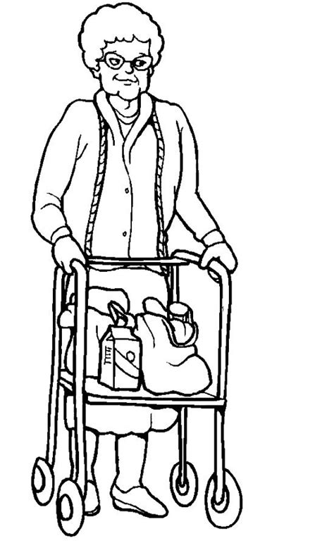 grandmother disabilities coloring page people coloring pages adult coloring pages coloring pages