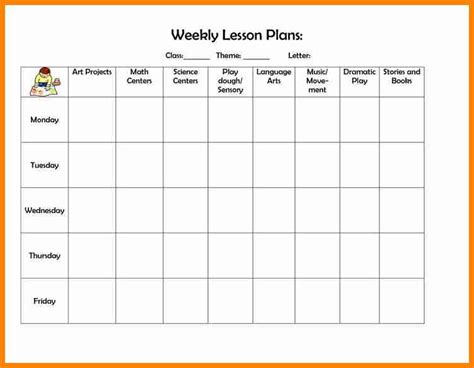 Free Editable Weekly Lesson Plan Template by 5 Editable Weekly Lesson Plan Template Mail Clerked