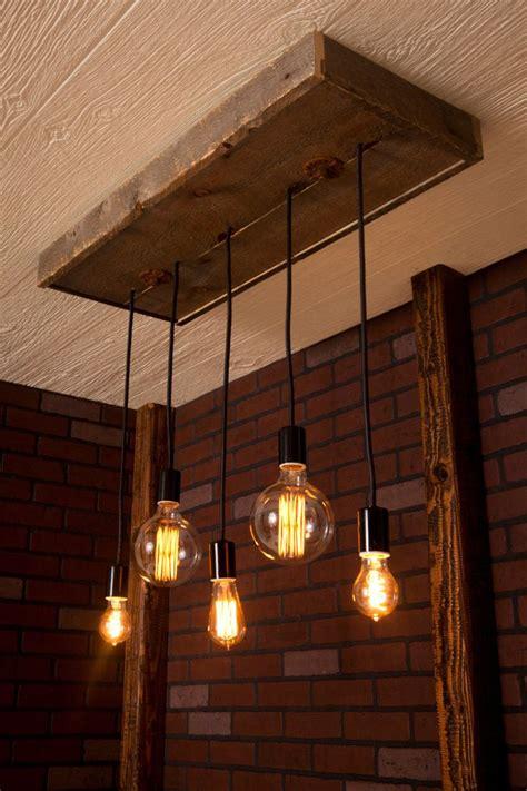 Industrial Lighting, Wood Chandelier, With Reclaimed Wood