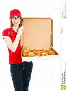Pizza Girl Makes Delivery stock image. Image of caucasian ...