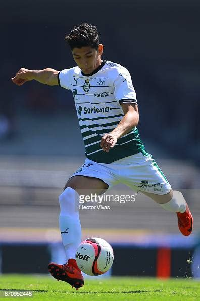 Gerardo Arteaga of Santos Laguna kicks the ball during the ...