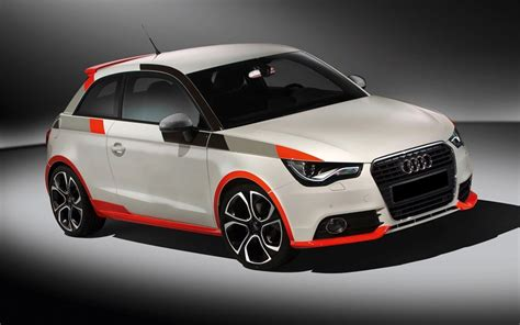 White #audi A1 Sport With A Redblackgrey #stripes And