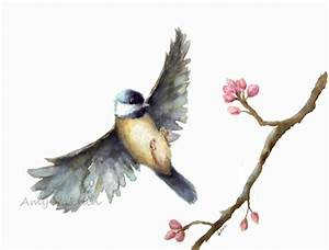 Bird watercolor print/ Flying Chickadee watercolor print 8x10/