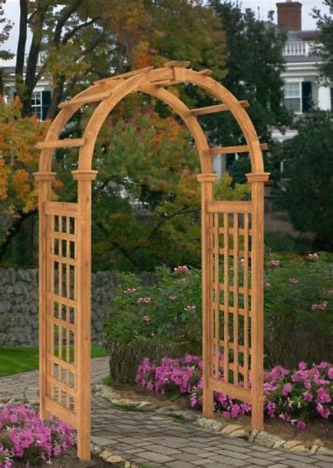 patio arbor new england arbors decorative rosewood cedar wood garden patio trellis lattice ebay