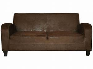 canape fixe 3 places en tissu nany coloris marron vente With canapé tissu imitation cuir vieilli