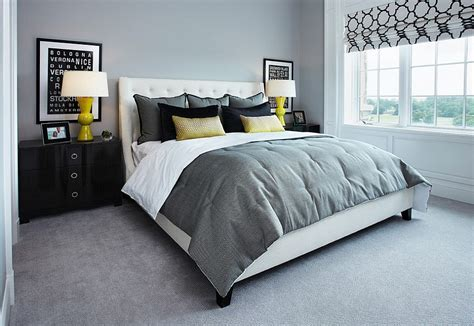 Bedroom Color Ideas With Blue Carpet by Cheerful Sophistication 25 Gray And Yellow Bedrooms
