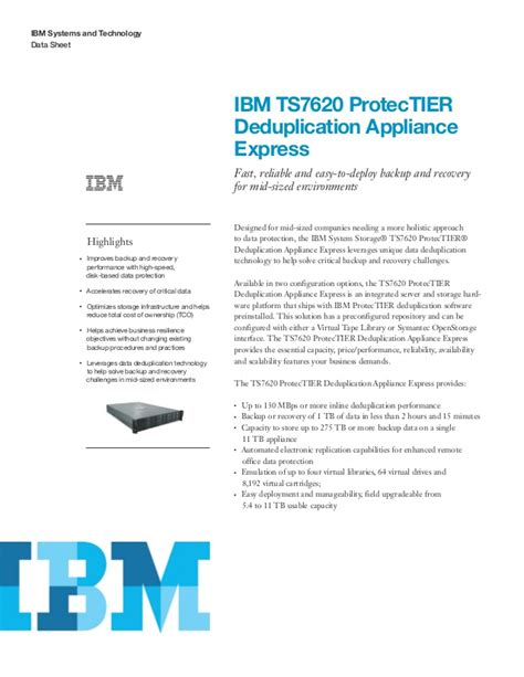 ibm ts7620 protectier deduplication appliance express