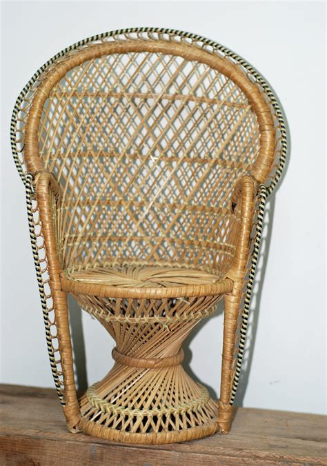 vintage buri wicker  peacock chairfor doll