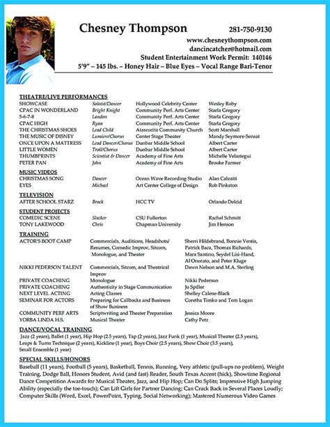 Acting Resume Sle by Outstanding Acting Resume Sle To Get Soon