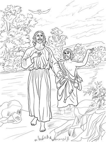 jesus baptized  john  baptist coloring page