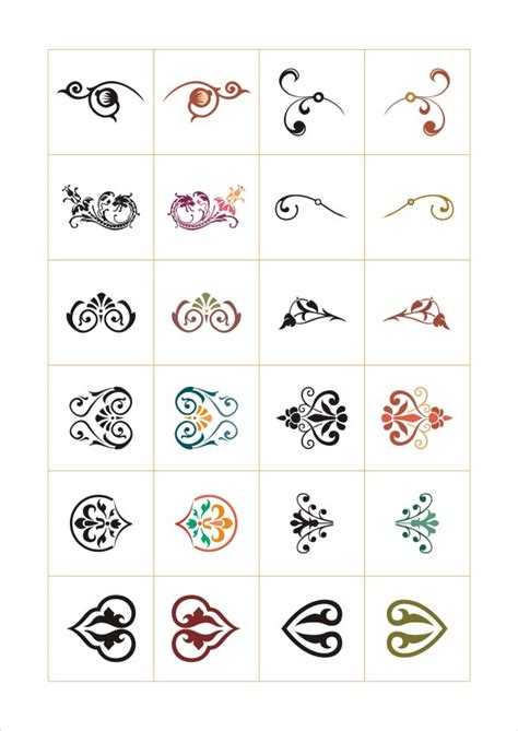 colored floral ornaments design elements vector vector