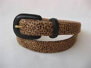 Talbots Leopard Print Leather Belt Pony Hair Medium