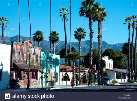 Main Street of small American town of Carpinteria on the ...