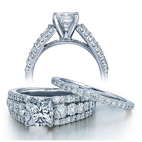 womens wedding rings certified 2 carat princess designer wedding ring set in white gold for jewelocean