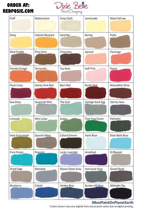 paint colors dixie color chart dixie chalk type paint colors