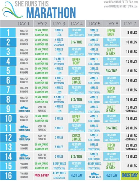 Portrait) on one page in easy to print pdf format. She Runs This Marathon FREE Training Calendar | Half ...