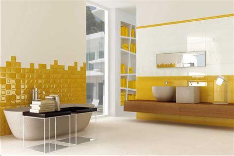 Badezimmer Dekorieren Ideen Mit Weiß Gelb Badfliesen