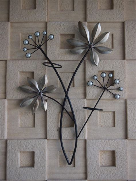 aliexpress buy 2 pieces vintage iron metal acrylic flower wall hanging candle wall