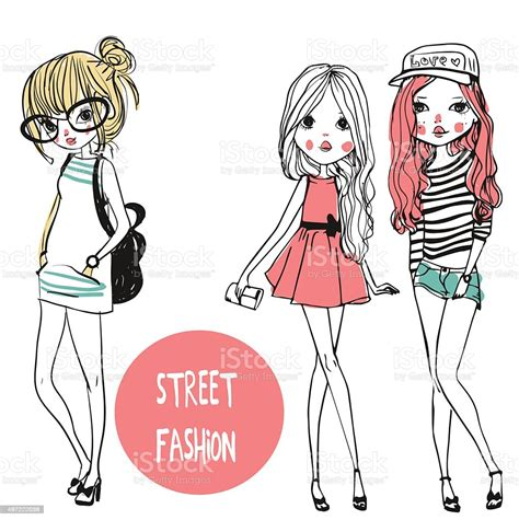 Cute Fashion Girls Stock Illustration - Download Image Now ...