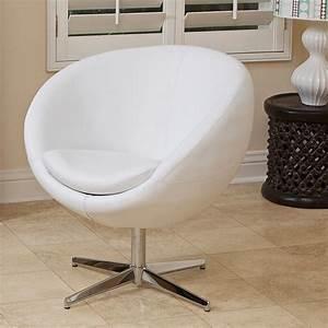 Sphera Modern Design White Leather Swivel Accent Chair