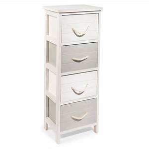 Petit Meuble à Tiroirs : petit meuble 4 tiroirs en bois blanc h 77 cm ol ron maisons du monde ~ Teatrodelosmanantiales.com Idées de Décoration
