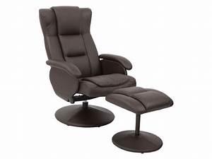 Fauteuil Bureau Conforama : fauteuil relaxation repose pieds jules coloris chocolat en pu vente de tous les fauteuils ~ Teatrodelosmanantiales.com Idées de Décoration