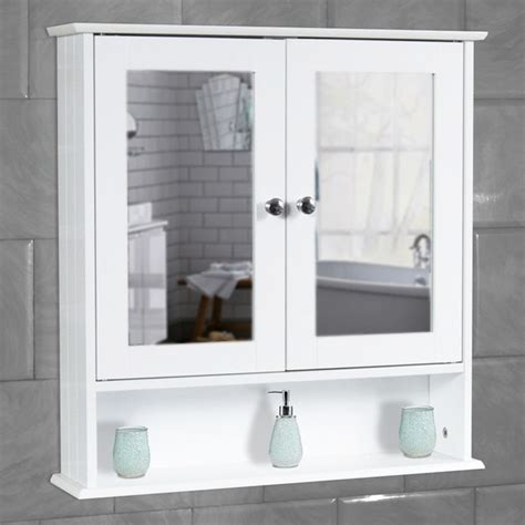 Bathroom Cupboard With Mirror by White Bathroom Wall Cabinet Storage Cupboard With Mirror