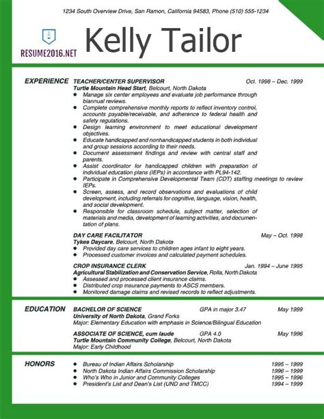 Resume Template For Teachers by Resume Exles 2016 Archives Resume 2016