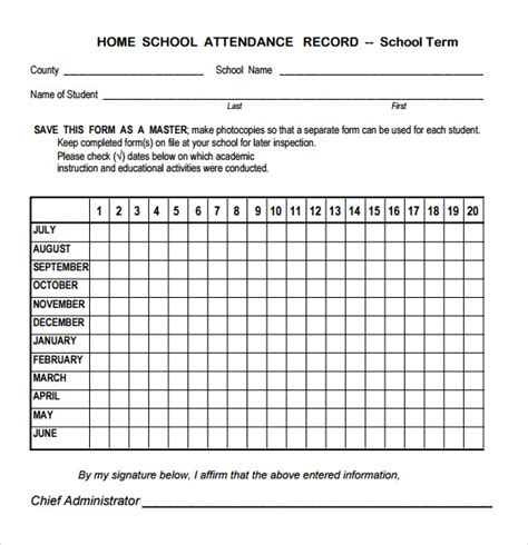 sample attendance chart   documents   word