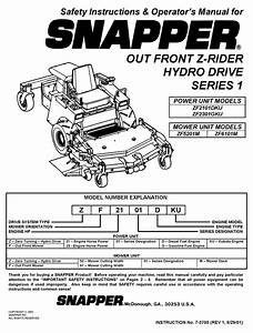 Snapper Zf2101dku Safety Instructions  U0026 Operator U0026 39 S Manual