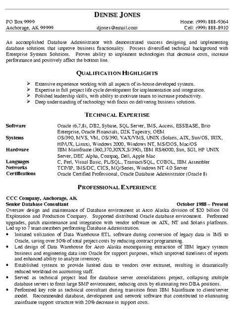 Database Management Experience Resume by Database Administrator Resume Exle