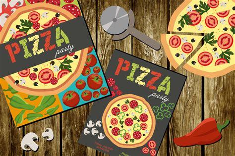 pizza party set illustrations  creative market