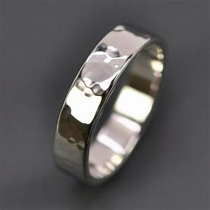 men39s hammered 14k white gold wedding band palladium With 14k white gold hammered wedding band ring
