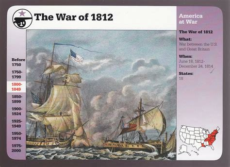 The War Of 1812 Uss Constitution Vs British Java Grolier Story Of America Card Ebay
