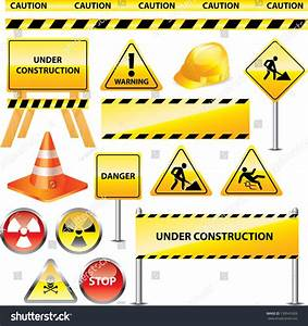 Warning And Under Construction Signs Vector Set ...