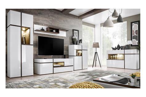 Meuble Salon Complet Design Blanc & Bois Pour Salon