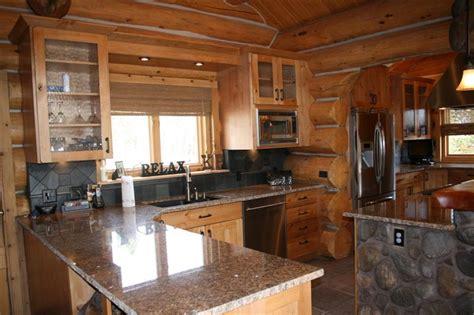beautiful log cabin kitchen design  colorado jm