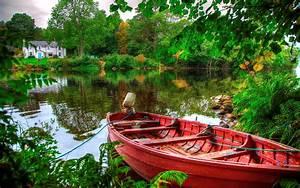 Beautiful, Wallpaper, Hd, Lake, Boat, House, Green, Trees