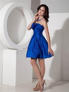 Baby Color Chart Handmade Flower Decorate Cobalt Blue Short Bridesmaid Dress