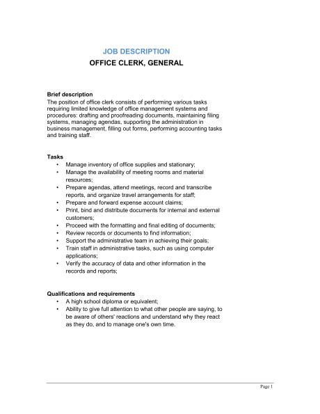 clerk description for resume best photos of office clerk description office clerk