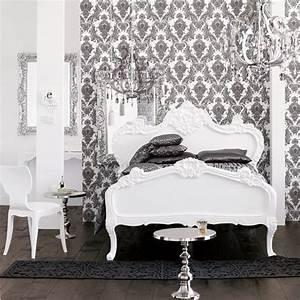 Black and white bedroom. Damask wallpaper. Chandelier ...