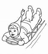 Coloring Sled Season Sliding Kid Brave Netart sketch template